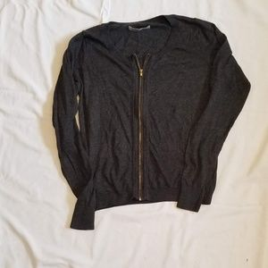 SMALL CHARCOAL ZIP UP CARDIGAN